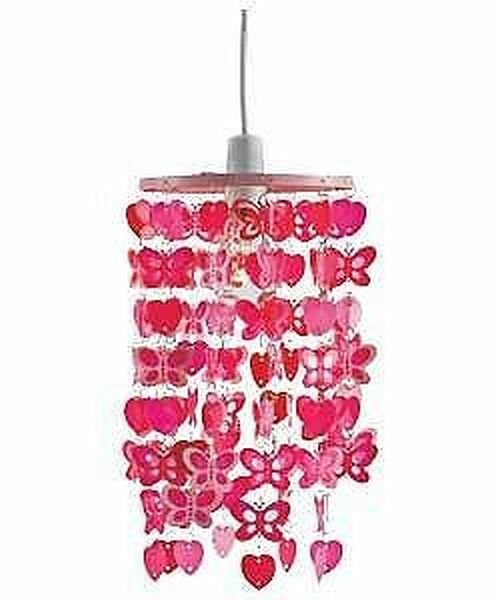 Best Girls Bedroom Butterfly Heart Dangling Light Shade Pink Ebay With Pictures