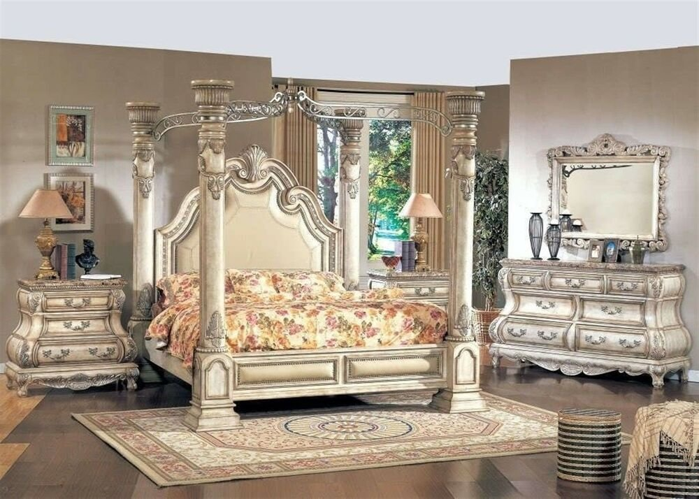 Best Traditional King White Leather Poster Canopy Bed 4 Pc With Pictures