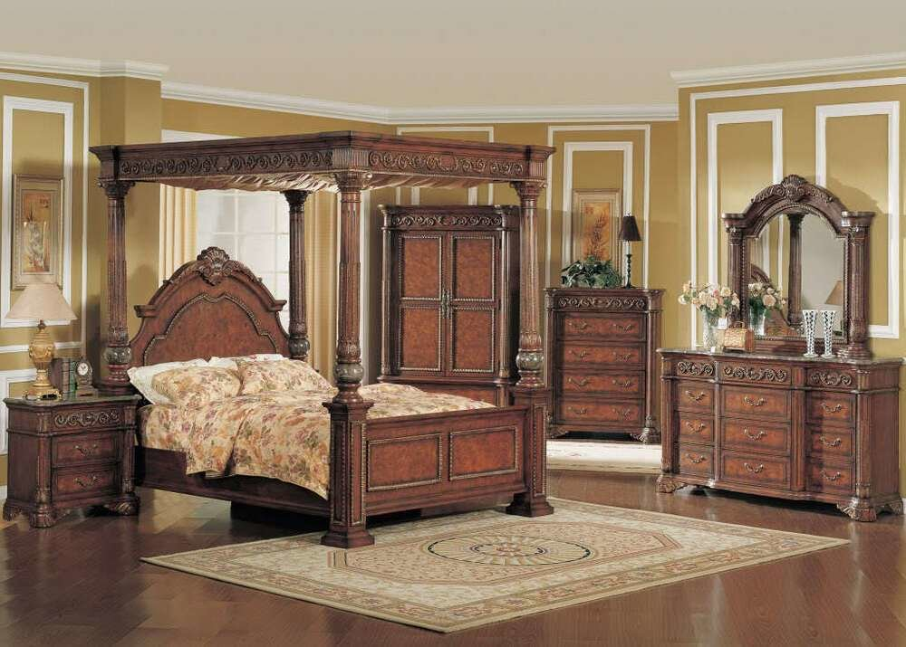 Best Kamella King Poster Canopy Bed Luxury Bedroom Furniture Set W Marble Tops Ebay With Pictures