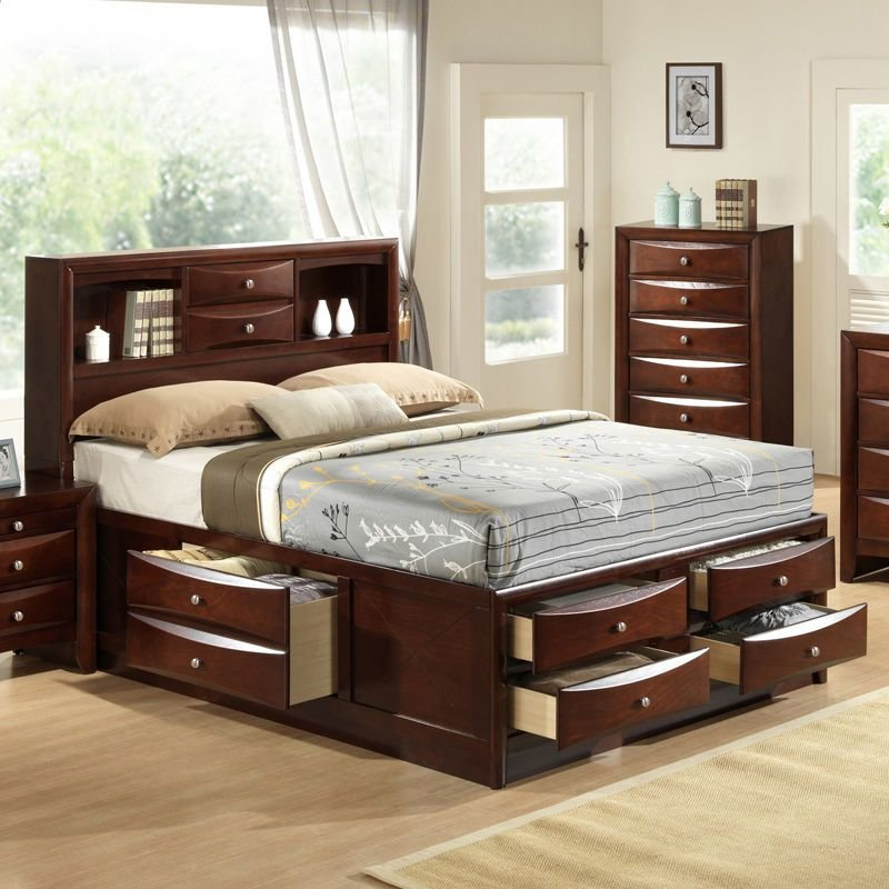 Best Emily Collection Bookcase Headboard Queen King Captains Storage Bed W 6 Drawers Ebay With Pictures