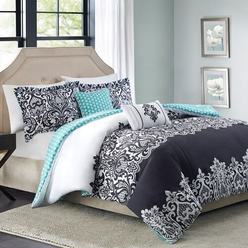 Best 5Pc Bedding Comforter Set Reversible Black White Blue With Pictures