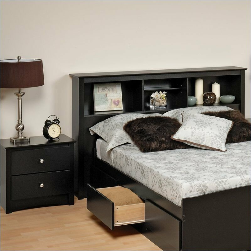 Best Prepac Sonoma Black Full Queen Wood Bookcase Headboard 2 With Pictures