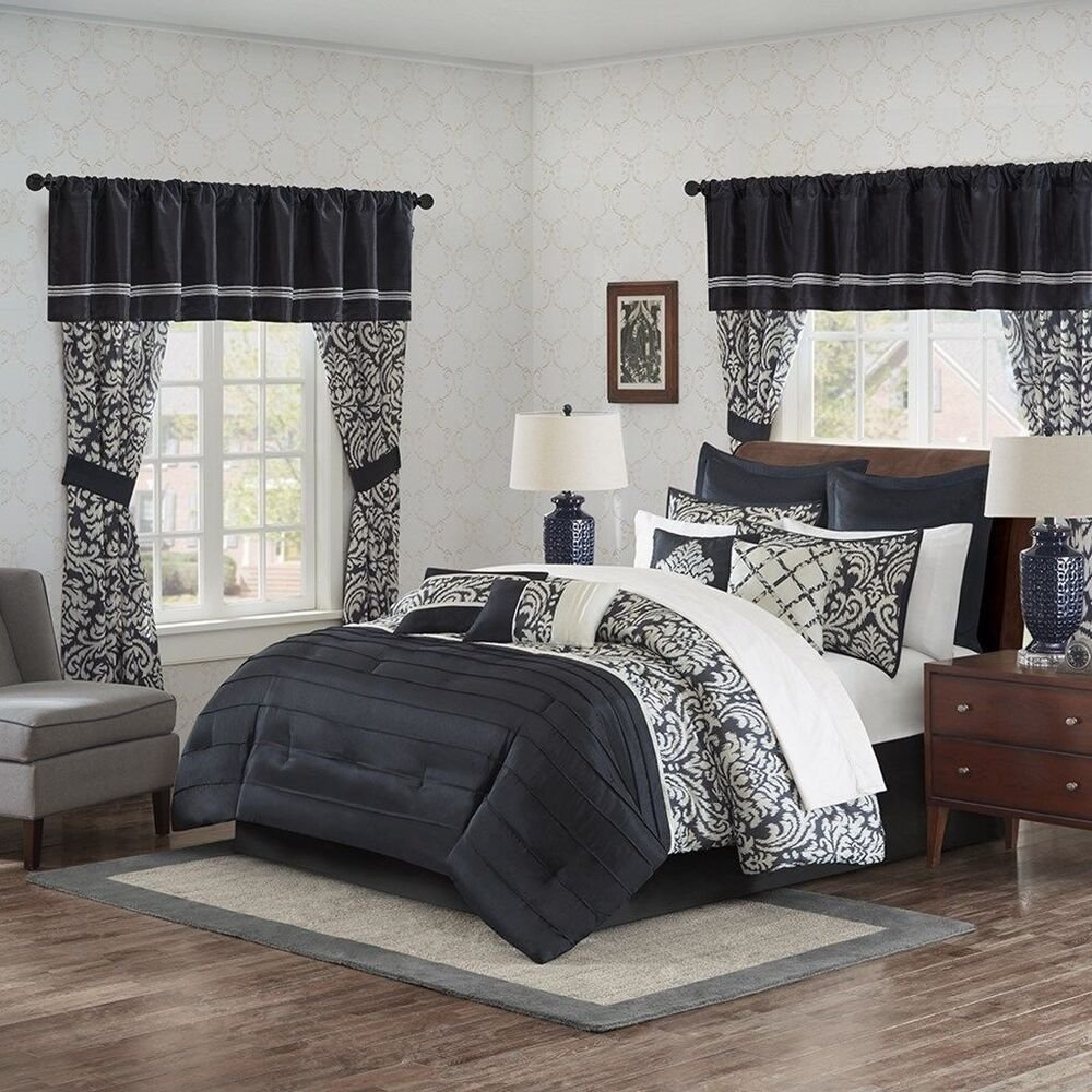 Best 24Pc Black Damask Complete Bedroom In A Bag W Comforter Curtains Sheets Etc Ebay With Pictures