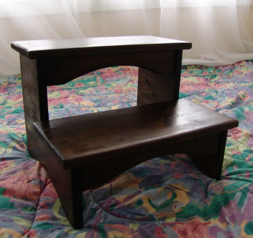 Best Handcrafted Heavy Duty Step Stool Wooden Bedside Bedroom Kitchen Kids Walnut Ebay With Pictures