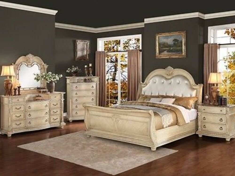 Best 4 Piece King Size Antique White Bedroom Set Collection With Pictures