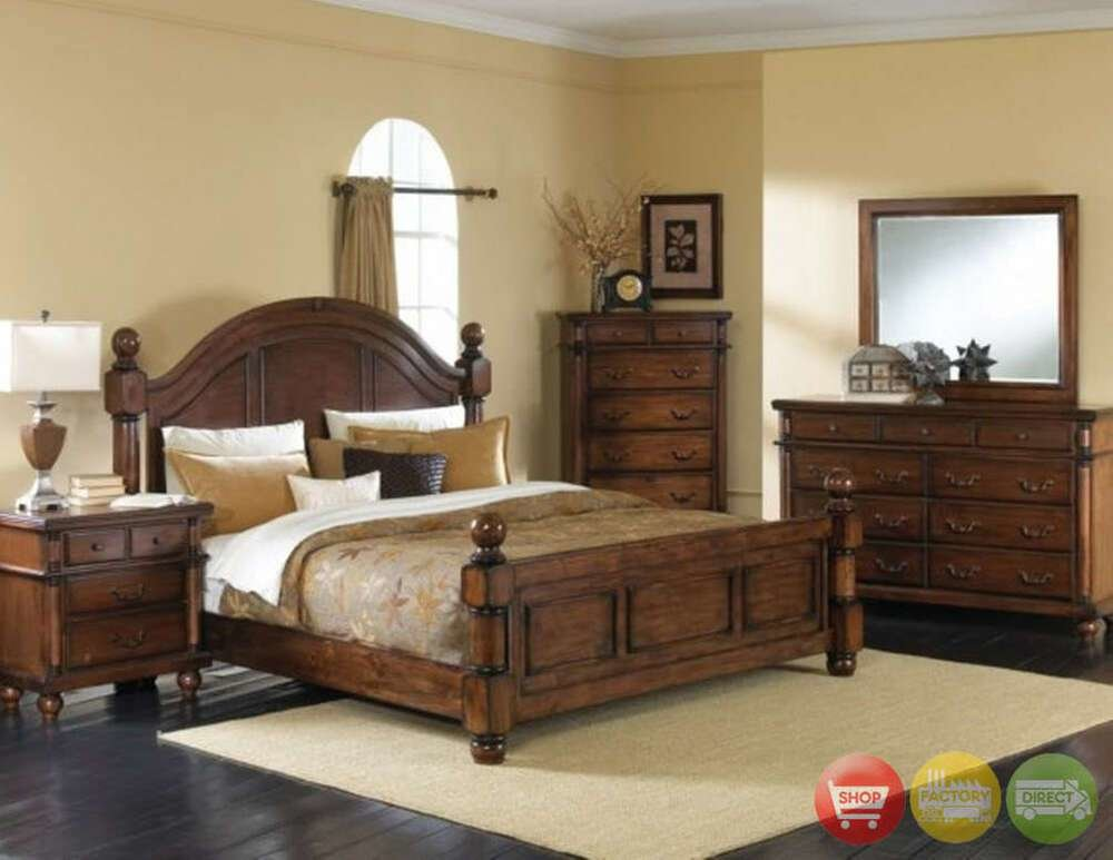 Best Augusta 5 Piece Traditional Queen Walnut Bedroom Furniture Set W 2 Night Stands Ebay With Pictures