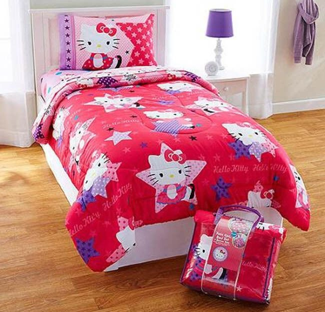 Best Hello Kitty 4Pc Twin Bedding Reversible Comforter Sheet With Pictures