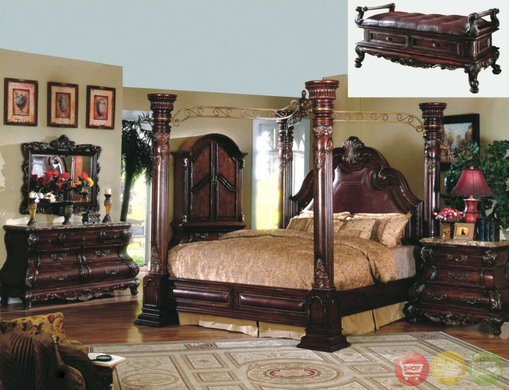 Best Queen Cherry Poster Canopy Bed W Leather 4 Pc Master With Pictures