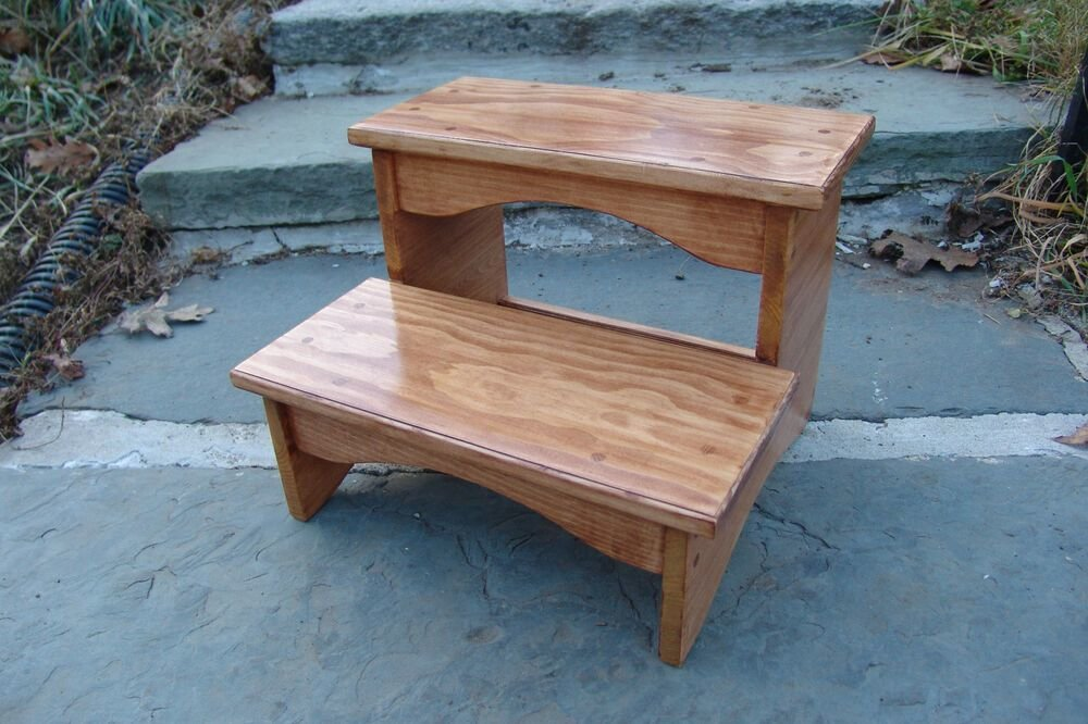 Best Handcrafted Heavy Duty Step Stool Solid Wood Bedside With Pictures