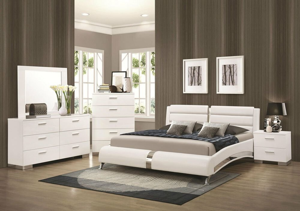 Best Stanton Ultra Modern 5Pcs Glossy White King Size Platform With Pictures