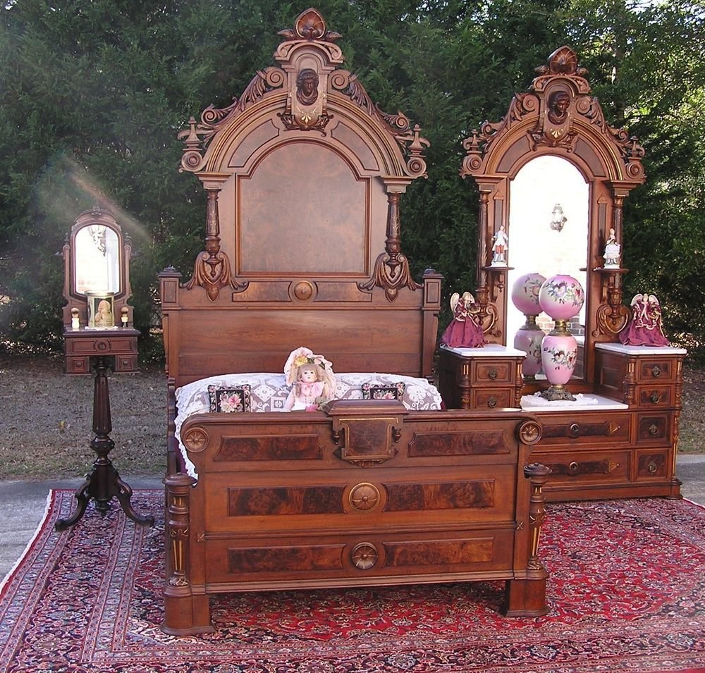 Best Beautiful Victorian Walnut Ansonia Head Bedroom Set Ebay With Pictures