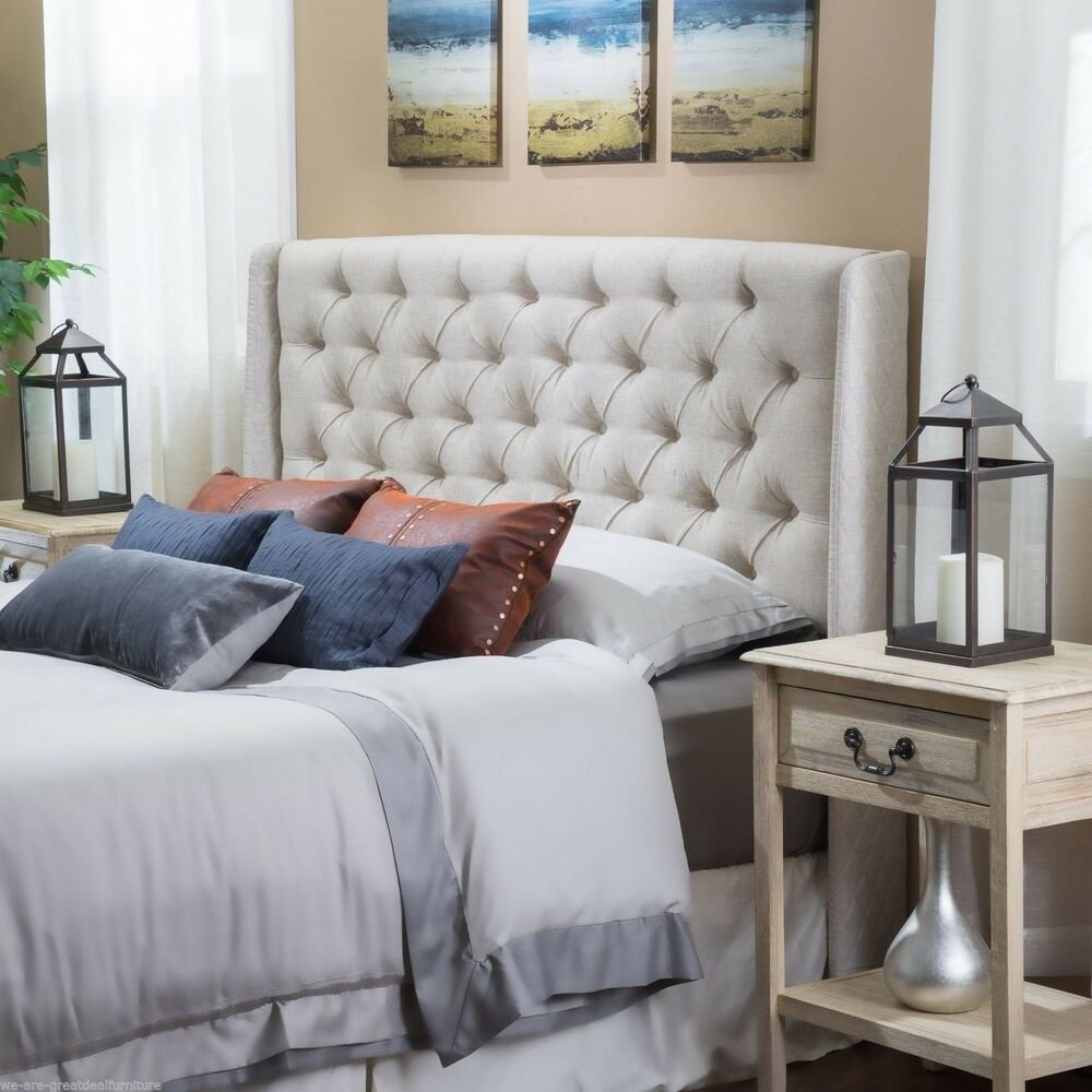 Best Bedroom Furniture Queen Full Size Bed Wingback Beige Tufted Fabric Headboard Ebay With Pictures
