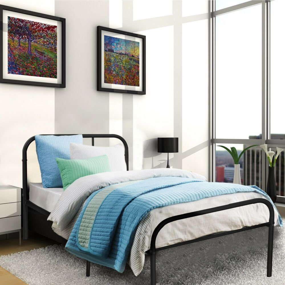 Best Metal Platform Bed Frame Twin Size Bedroom Heavy Duty With Pictures