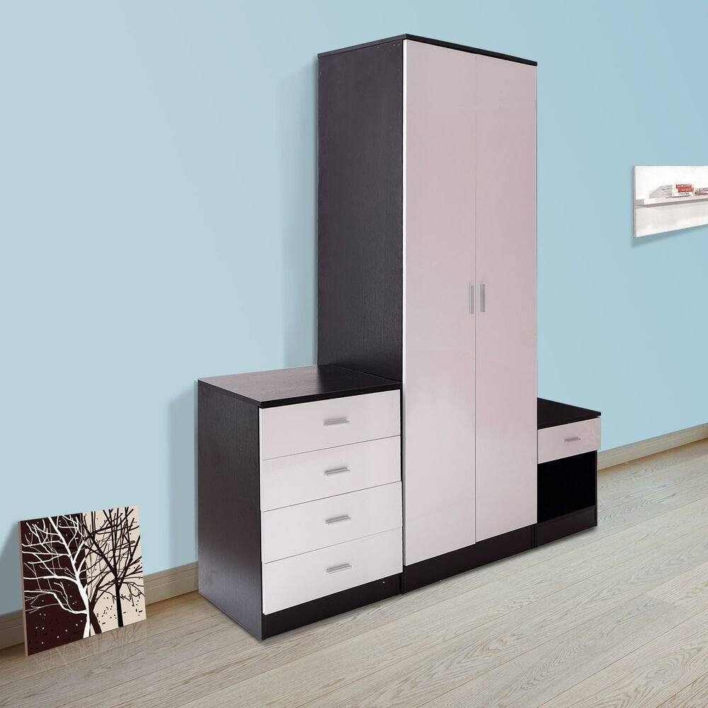 Best High Gloss Bedroom Furniture Set 3 Piece Large Door Wardrobe Bedside Table Chest Ebay With Pictures