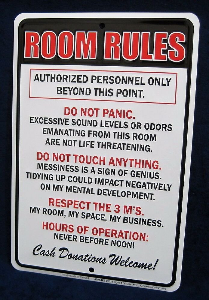 Best Room Rules Us Made Embossed Metal Tin Sign T**N With Pictures