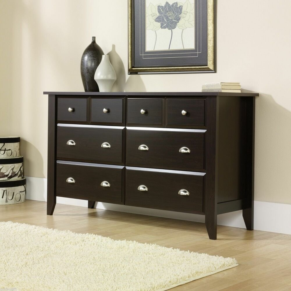 Best Modern Wooden 6 Drawer Dresser Wood Bedroom Classic Furniture Drawers Chest Home Ebay With Pictures