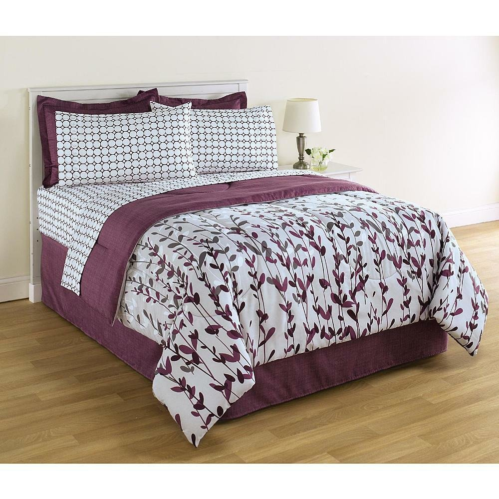 Best 8 Piece Complete Bedding Set Comforter Purple Floral With Pictures