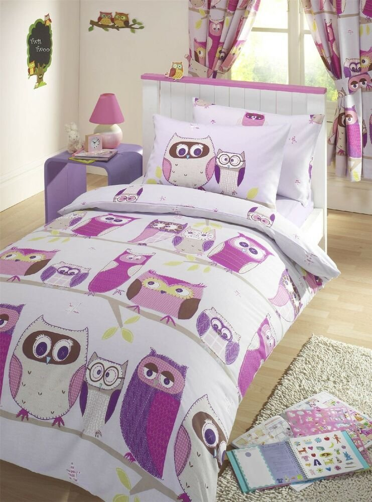 Best Owls Pink Kids Girls Reversible Single Duvet Quilt Cover With Pictures