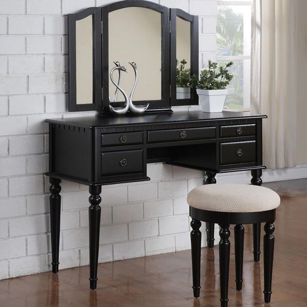 Best Vanity Set Vintage Makeup Black Mirror Desk Furniture With Pictures