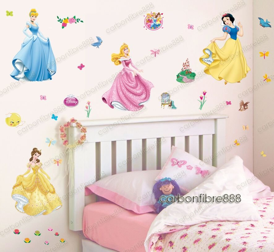 Best 37Pcs Disney Princess Wall Stickers Kids Nursery Decor With Pictures