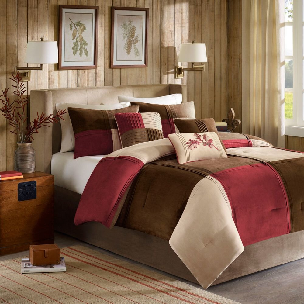 Best Beautiful Soft Beige Brown Red Modern Chic 7 Pc Comforter Set King Queen New Ebay With Pictures