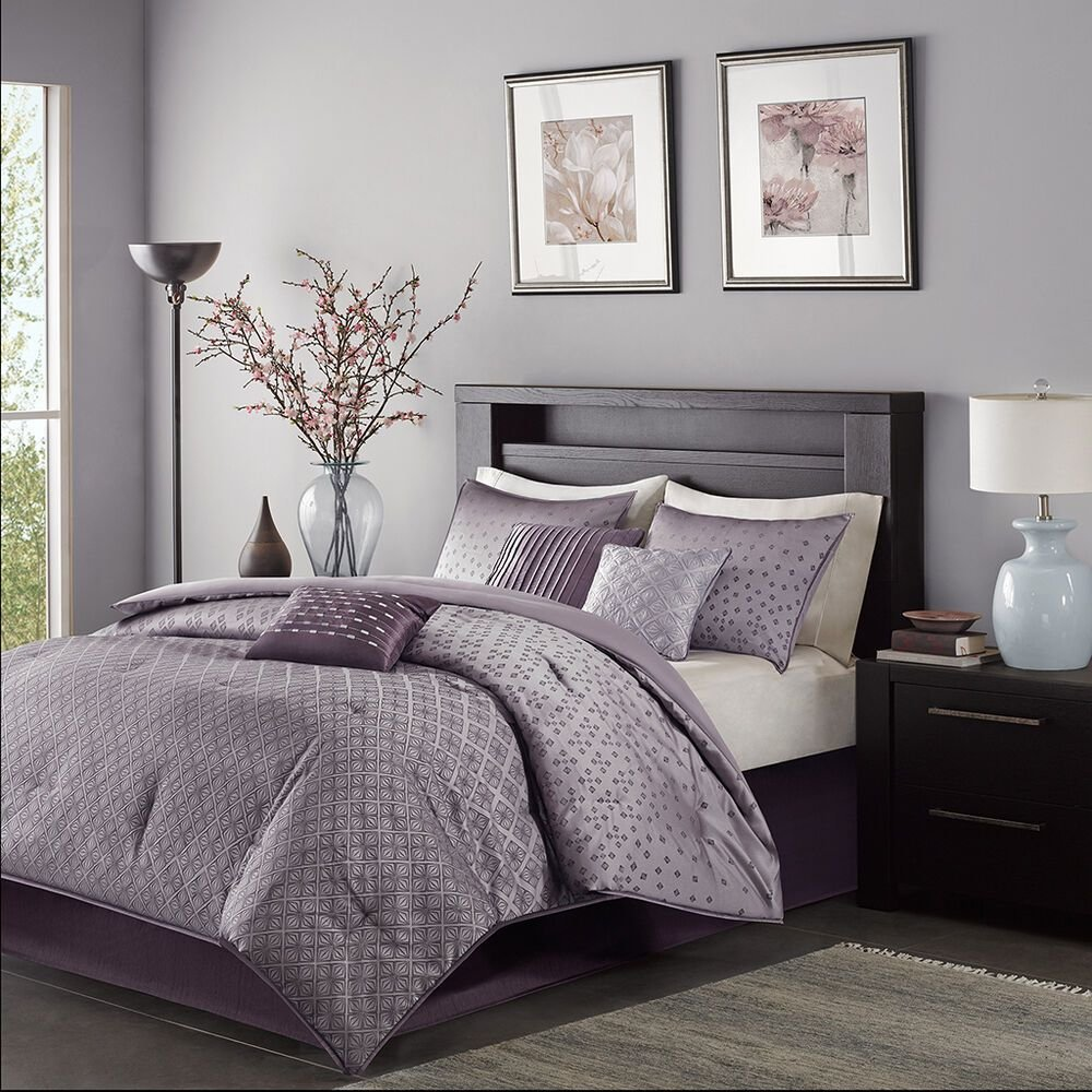 Best Beautiful Modern Contemporary Stripe Purple Grey Comforter With Pictures