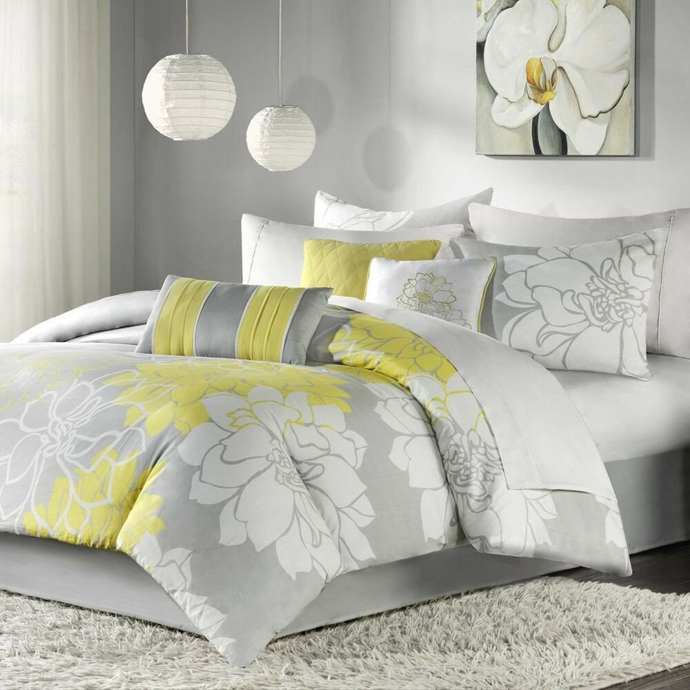 Best Beautiful Chic Grey Gray Yellow Floral Modern 6 Pc With Pictures