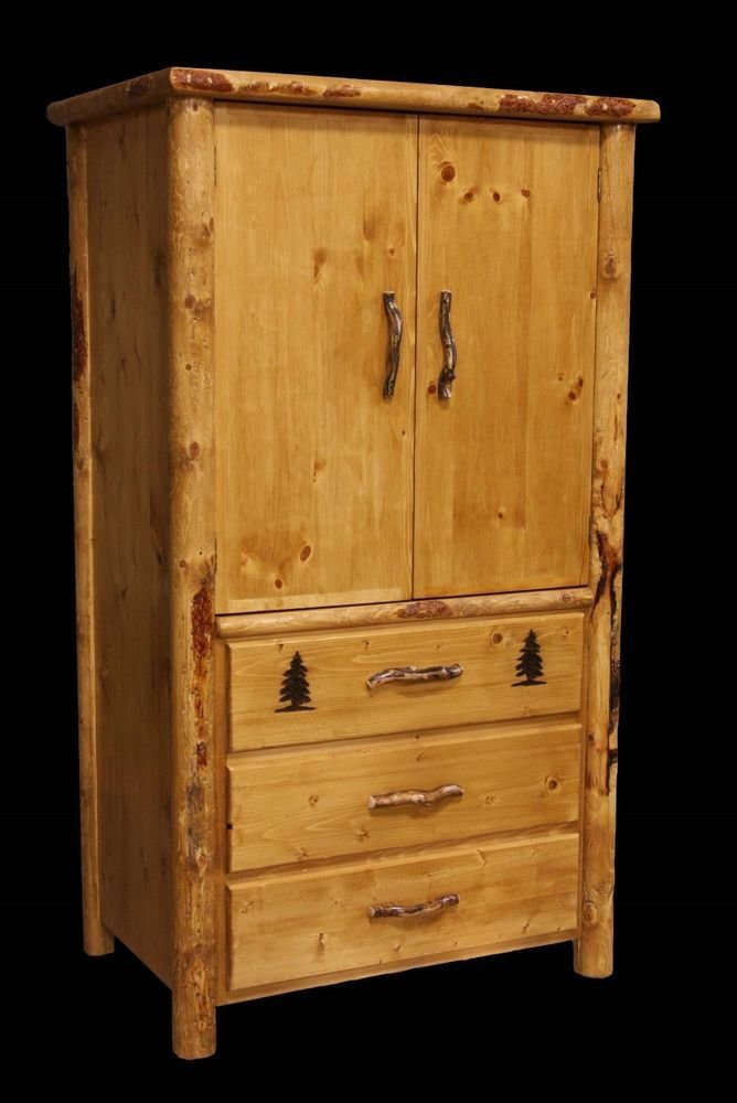 Best Rustic Armoire 3 Drawer Country Western Cabin Log Bedroom Furniture Decor Ebay With Pictures