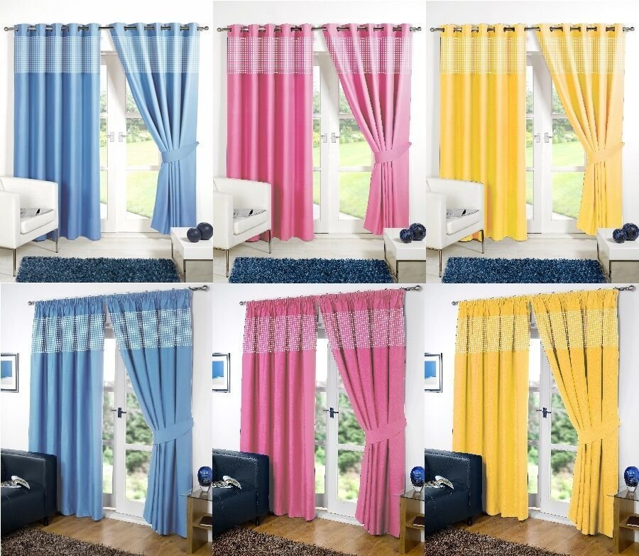 Best Gingham Kids Bedroom Curtains Thermal Blackout Curtain With Pictures