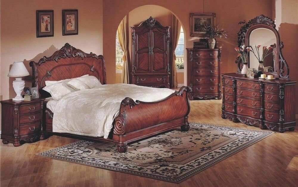 Best The Room Style 4Pc Luxurious Wood Cherry Queen Size With Pictures