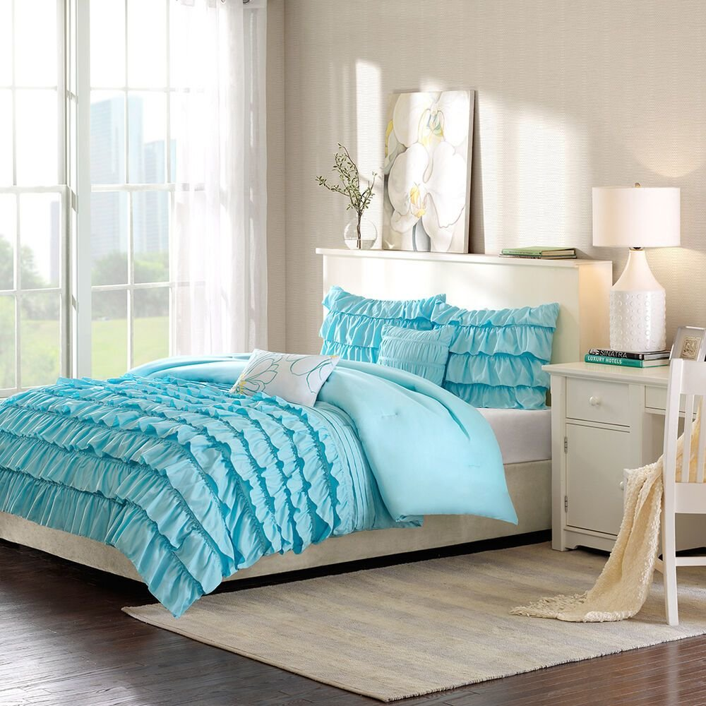 Best Beautiful 5Pc Blue White Teal Aqua Soft Modern Girl Ruffle Texture Comforter Set Ebay With Pictures
