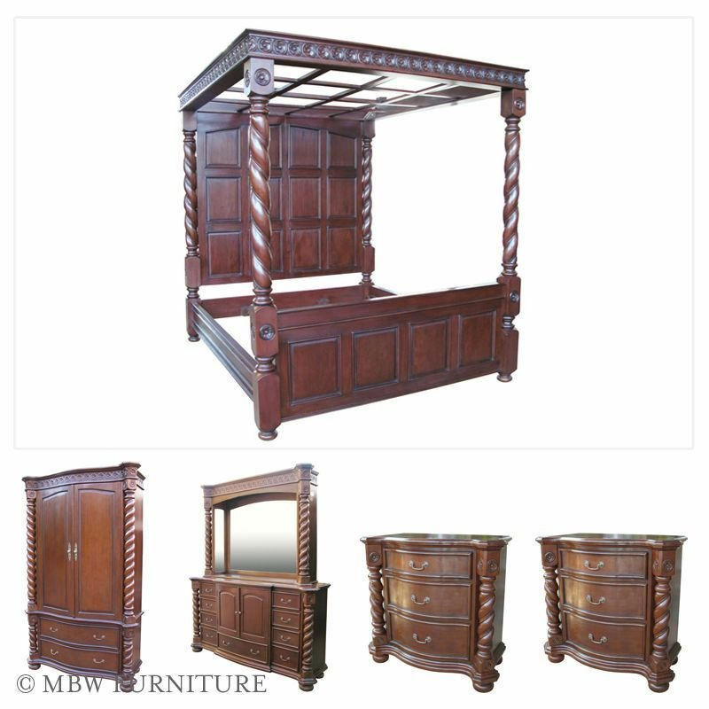 Best 5 Pc Solid Mahogany King Bed W Nightstands Dresser With Pictures
