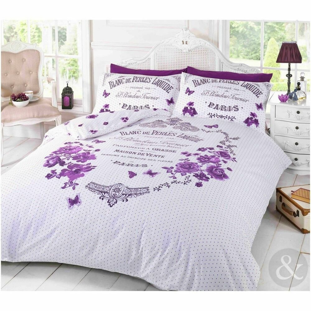 Best French Paris Duvet Cover Shabby Chic Floral Butterfly With Pictures