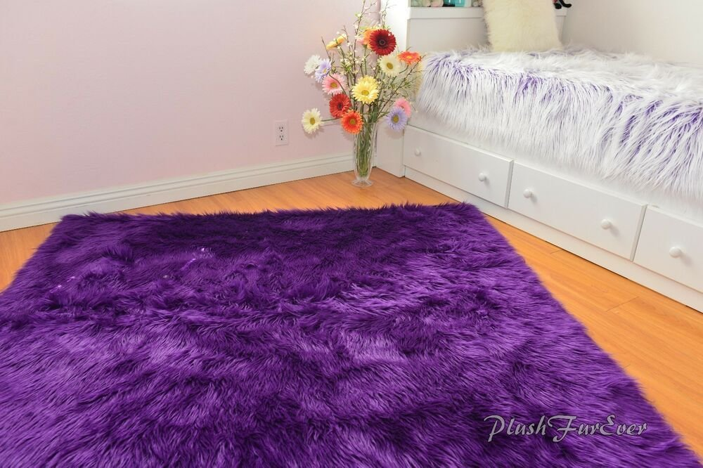 Best Purple Faux Fur Rugs Shaggy Premium Nursery Area Rug Sheepskin Flokati Accents Ebay With Pictures