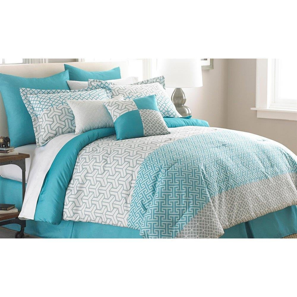 Best Teal Blue White Gray Modern Geometric 8Pc Comforter With Pictures