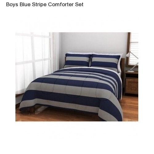 Best New Boy S T**N Blue Grey Stripe Full Size Comforter Set Sheets Bedding Bedspread Ebay With Pictures
