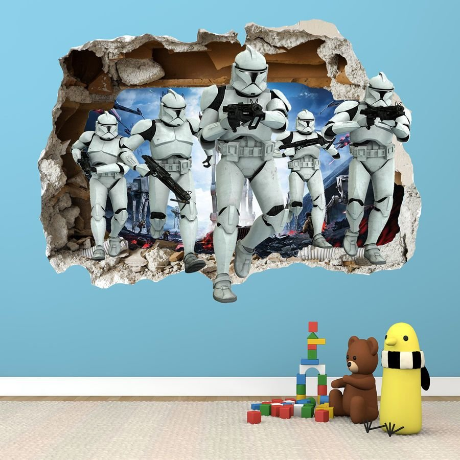 Best Star Wars Smashed Wall Sticker 3D Bedroom Boys Girls With Pictures