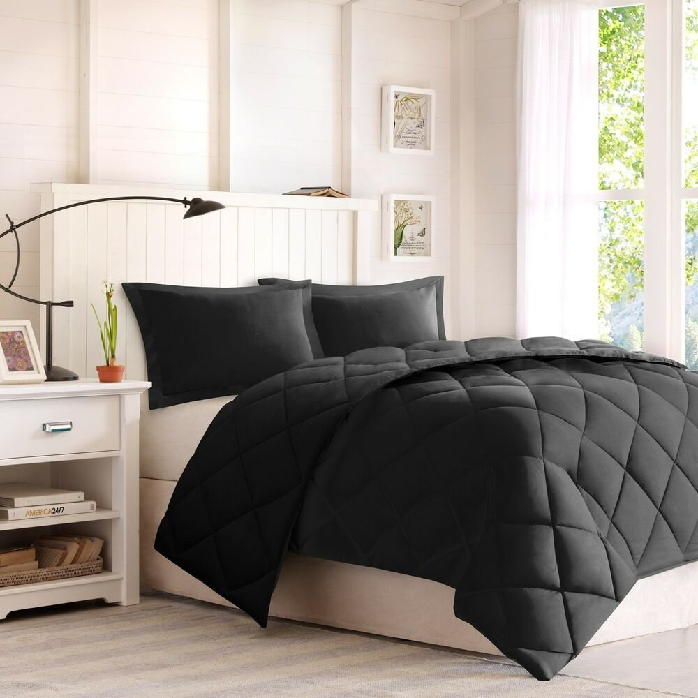 Best Black Comforter Set Full Queen Size 3 Piece Down With Pictures