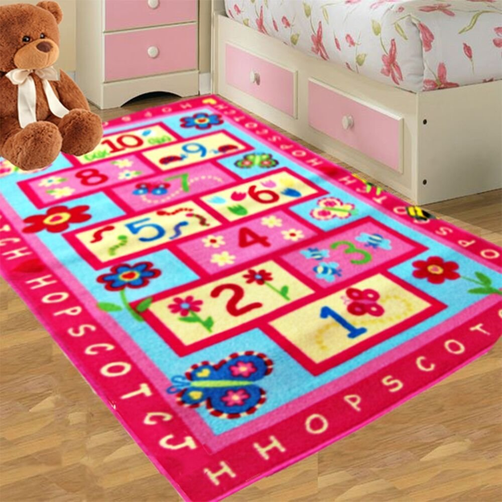 Best Kids Pink Hopscotch Girls Bedroom Floor Rugs Nurcery Play Mats Boys Home Carpet Ebay With Pictures