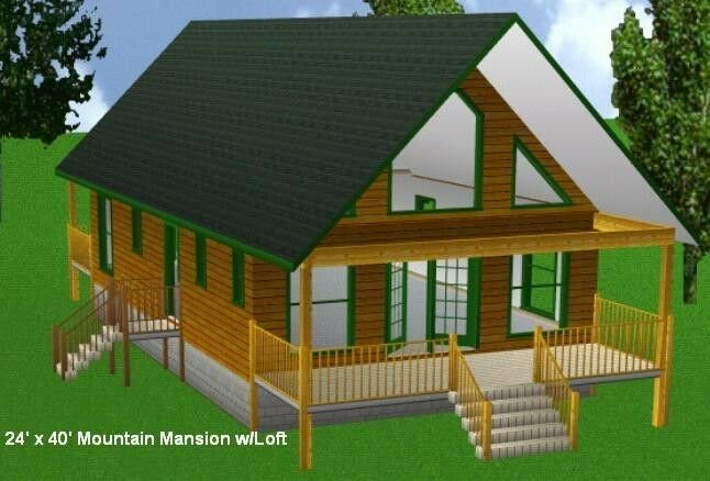 Best 24X40Mm Cabin W Loft Plans Package Blueprints Material With Pictures