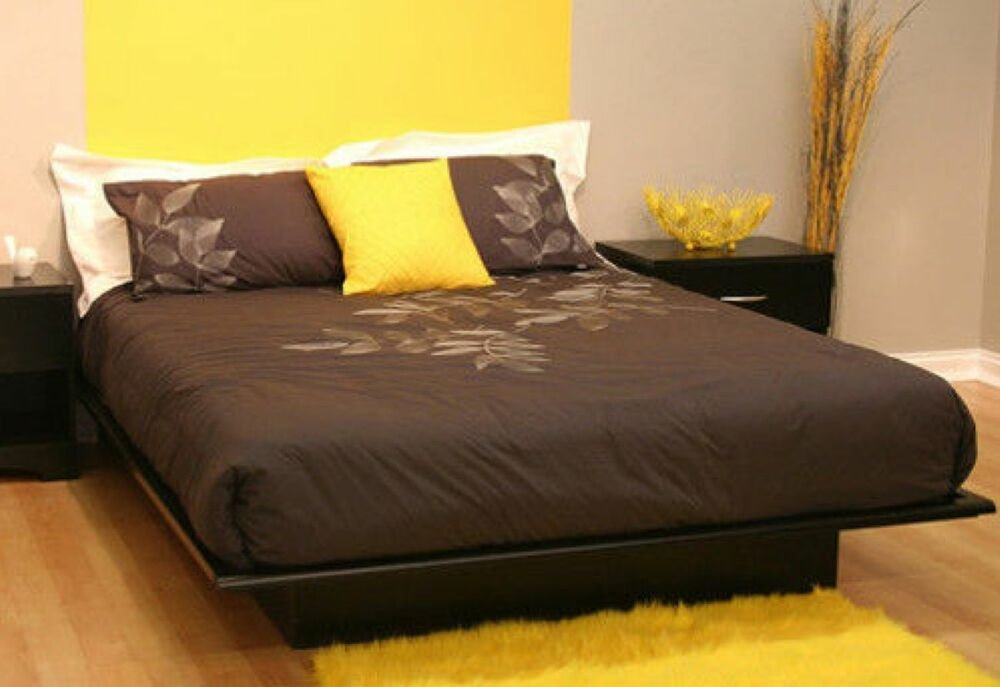 Best Full Size Black Platform Bed Frame Mattress Bedroom Cheap With Pictures