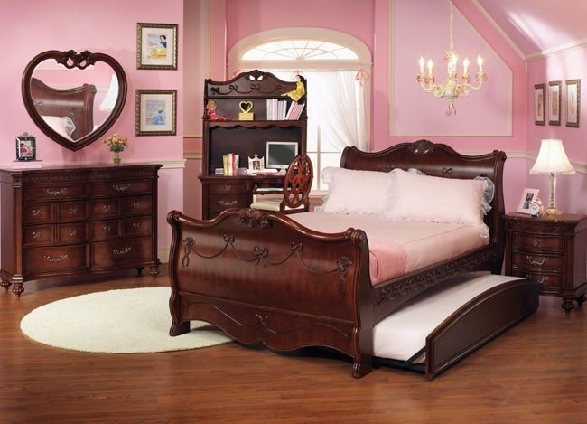 Best Disney Princess Girls Cherry 3 Piece Twin Sleigh Bed With Pictures