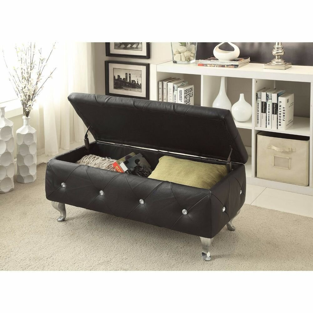 Best New Black Crystal Tufted Leather Storage Bench Upholstered With Pictures
