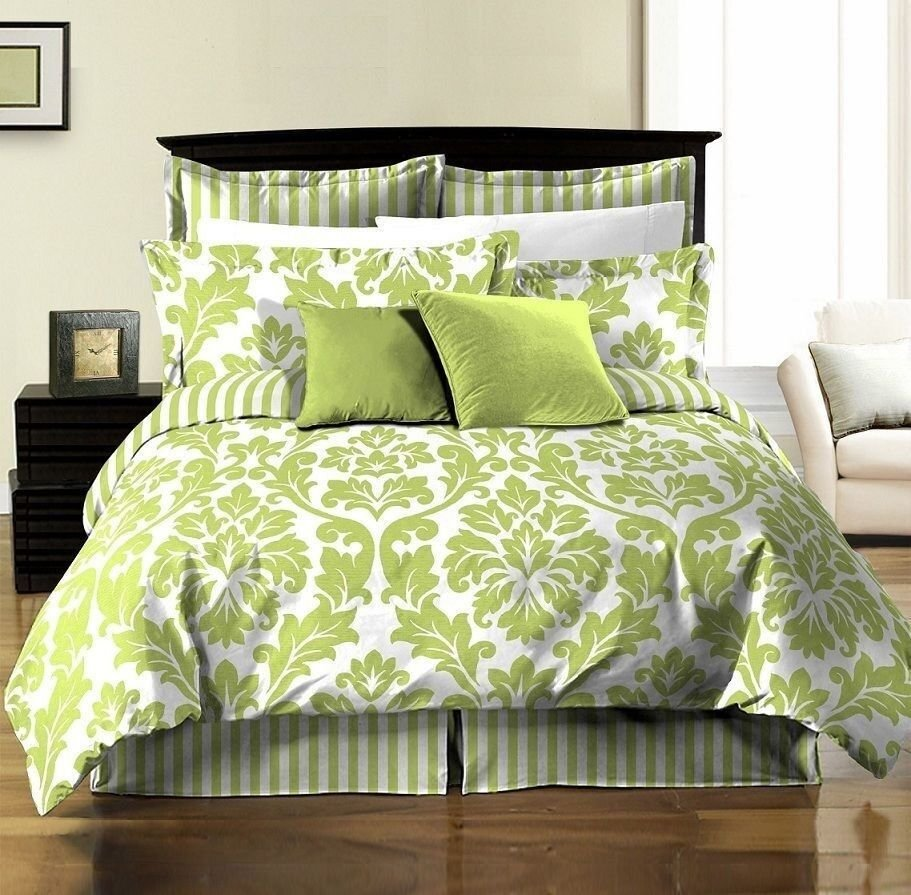 Best 8Pcs White Green Printed Damask Stripe Reversible Duvet With Pictures