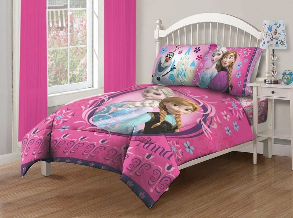 Best 4 Pieces Disney Frozen Anna Elsa Pink Bedding Comforter And Sheet Set Full Size Ebay With Pictures