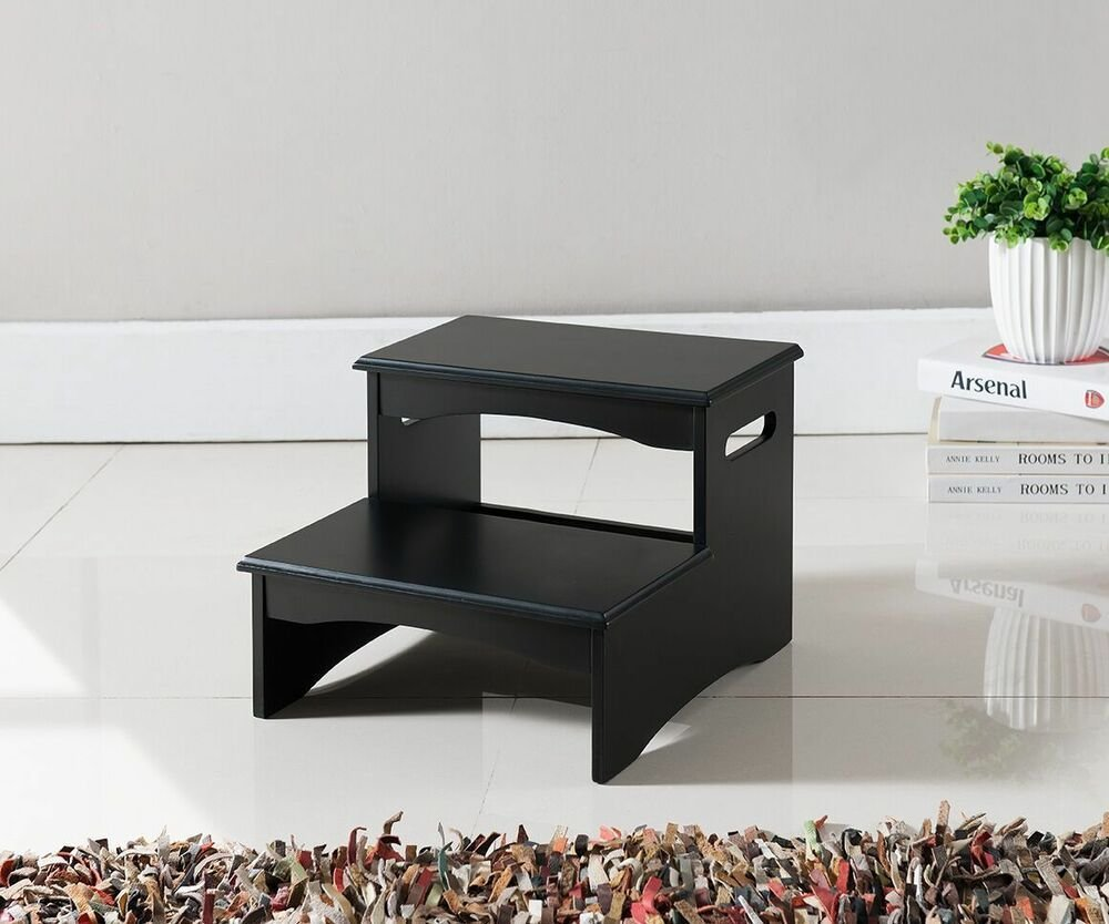 Best Kings Brand Furniture Black Finish Wood Bedroom Step Stool With Pictures