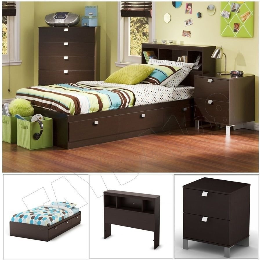Best 3 Piece Chocolate Modern Bedroom Furniture Collection Twin With Pictures