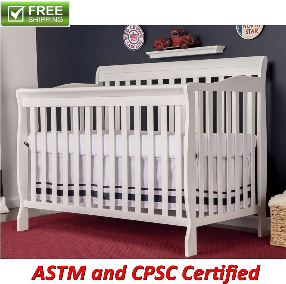 Best Convertible Baby Bed 5 In 1 Full Size Crib White Nursery With Pictures