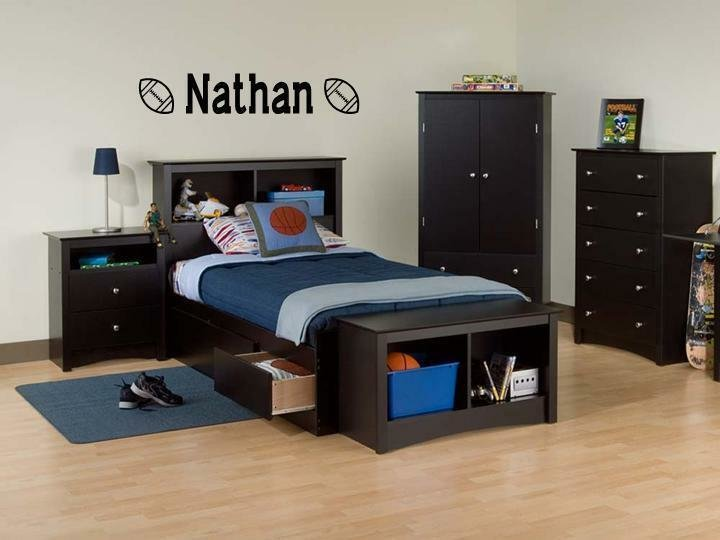 Best Boys Name Football Vinyl Sticker Wall Decal Bedroom Ebay With Pictures