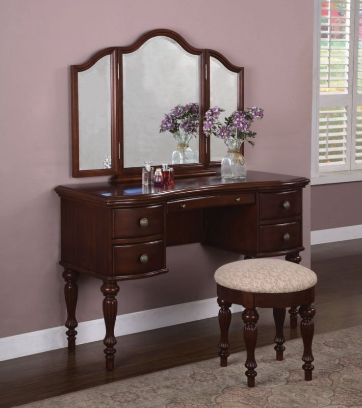 Best Powell Marquis Cherry Vanity Mirror Bench Set Bedroom With Pictures